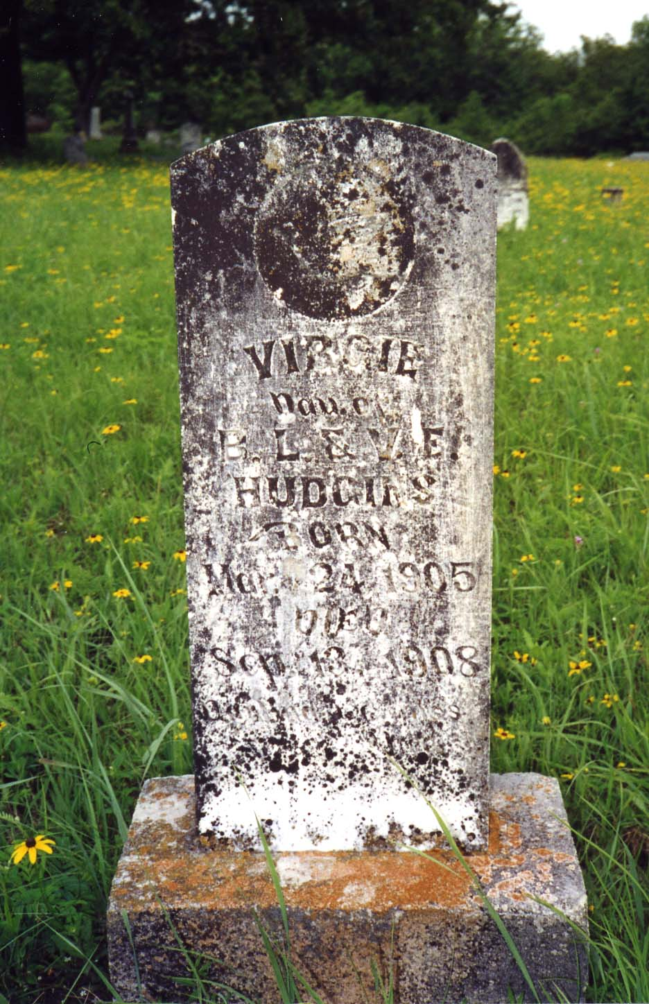 Virgie Dau of B. L. and V. E. Hudgins  Born Mar 24, 1905 Died Sept 13, 1908 Darling we miss you